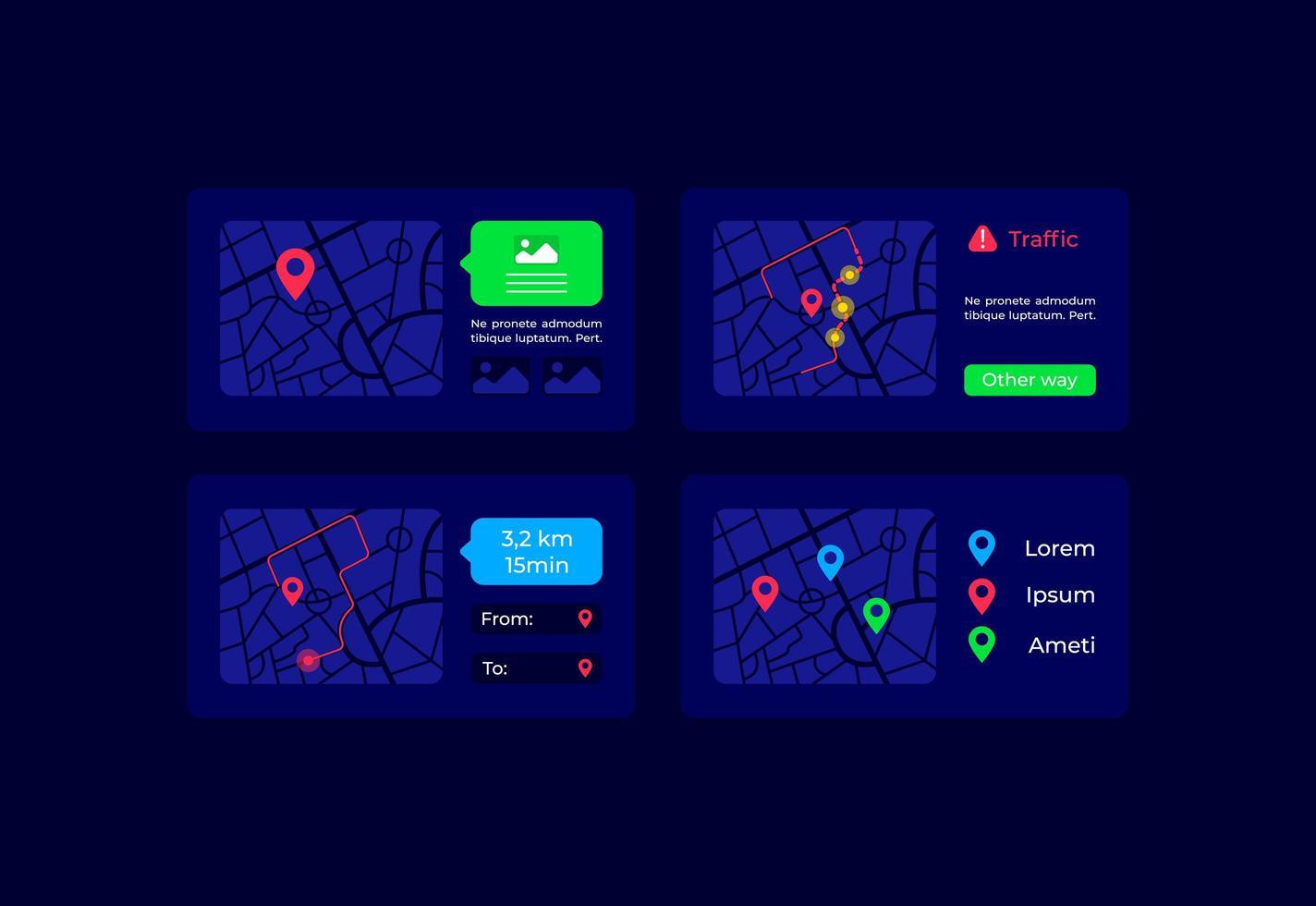 itinéraires sur la carte kit d'éléments d'interface utilisateur vecteur
