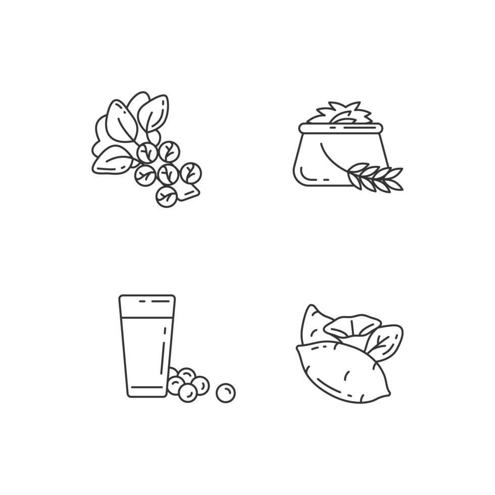 types de légumes santé pixel ensemble d'icônes linéaire parfait vecteur