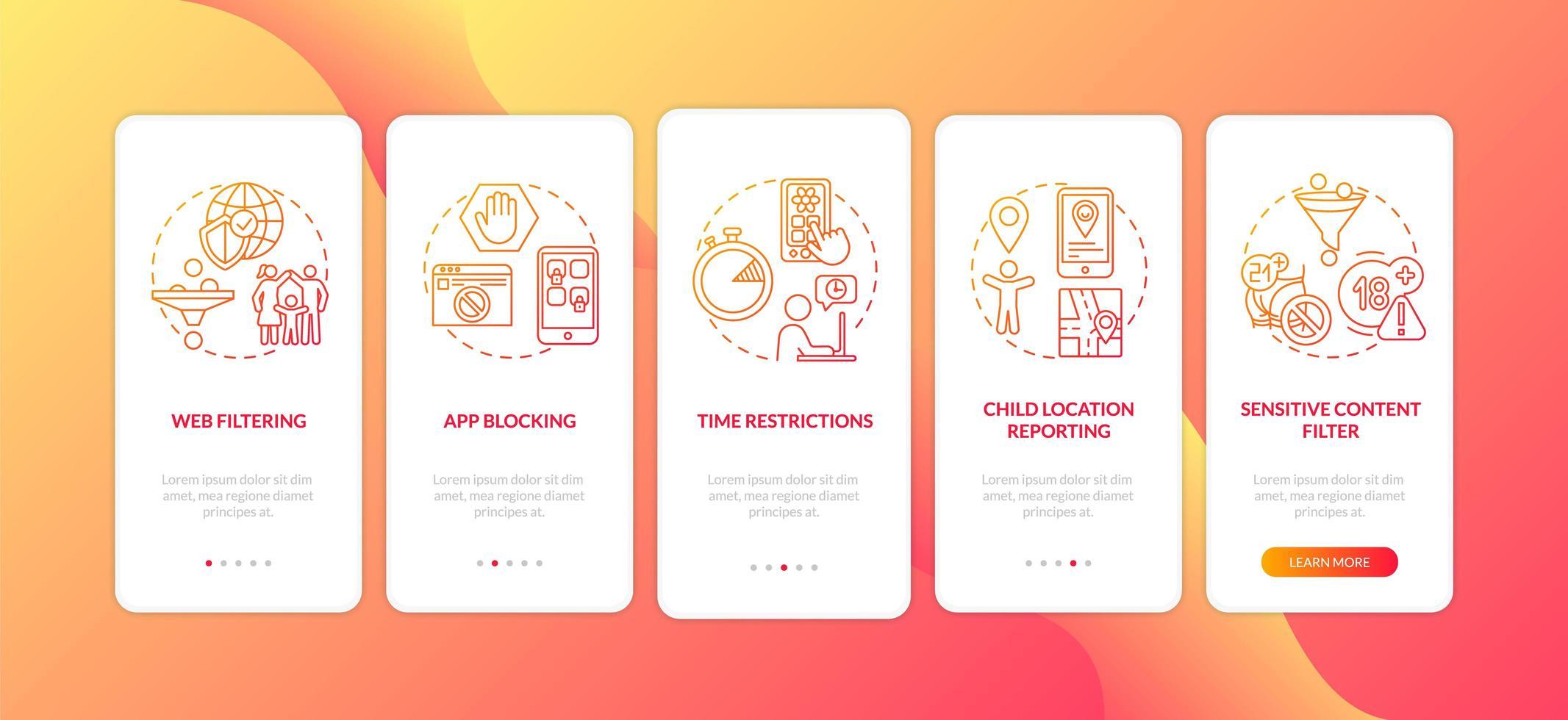 Éléments de supervision parentale écran de la page de l'application mobile d'intégration avec des concepts vecteur