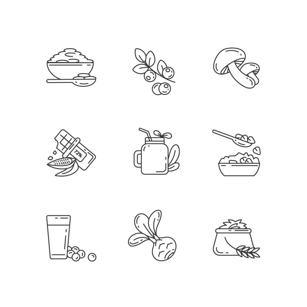 ensemble d'icônes linéaires parfaits de repas végétariens pixel vecteur