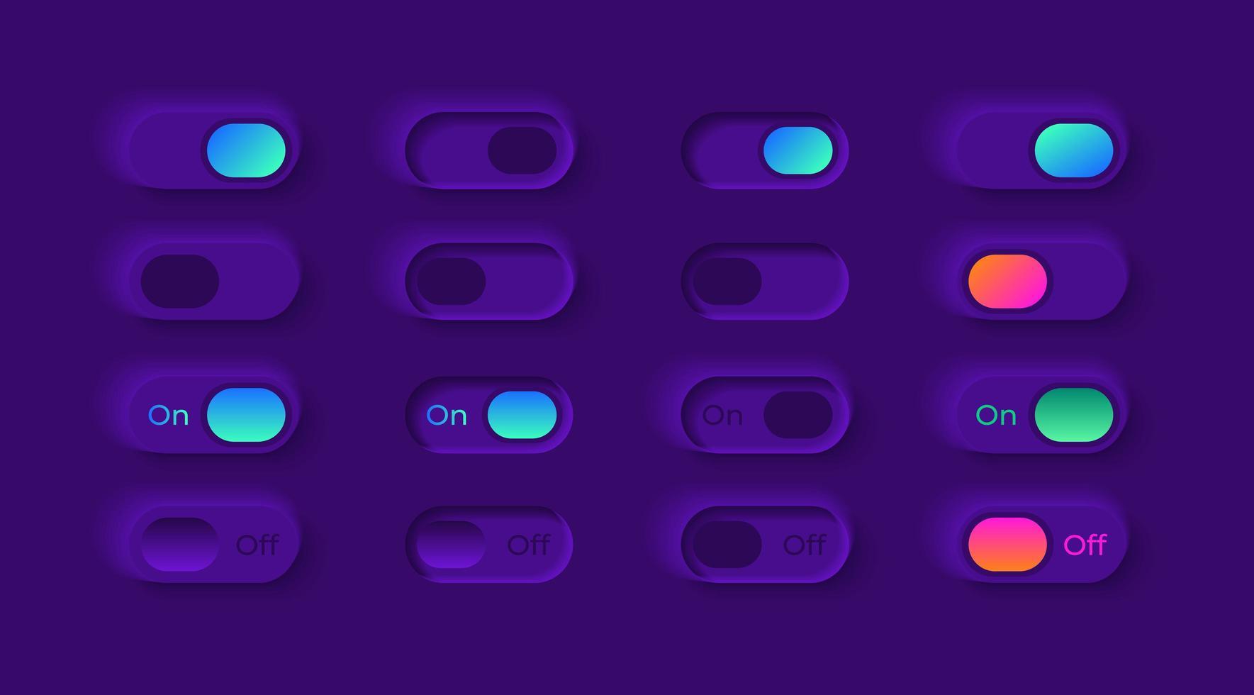 kit d'éléments d'interface utilisateur commutateurs de lecteur vidéo vecteur