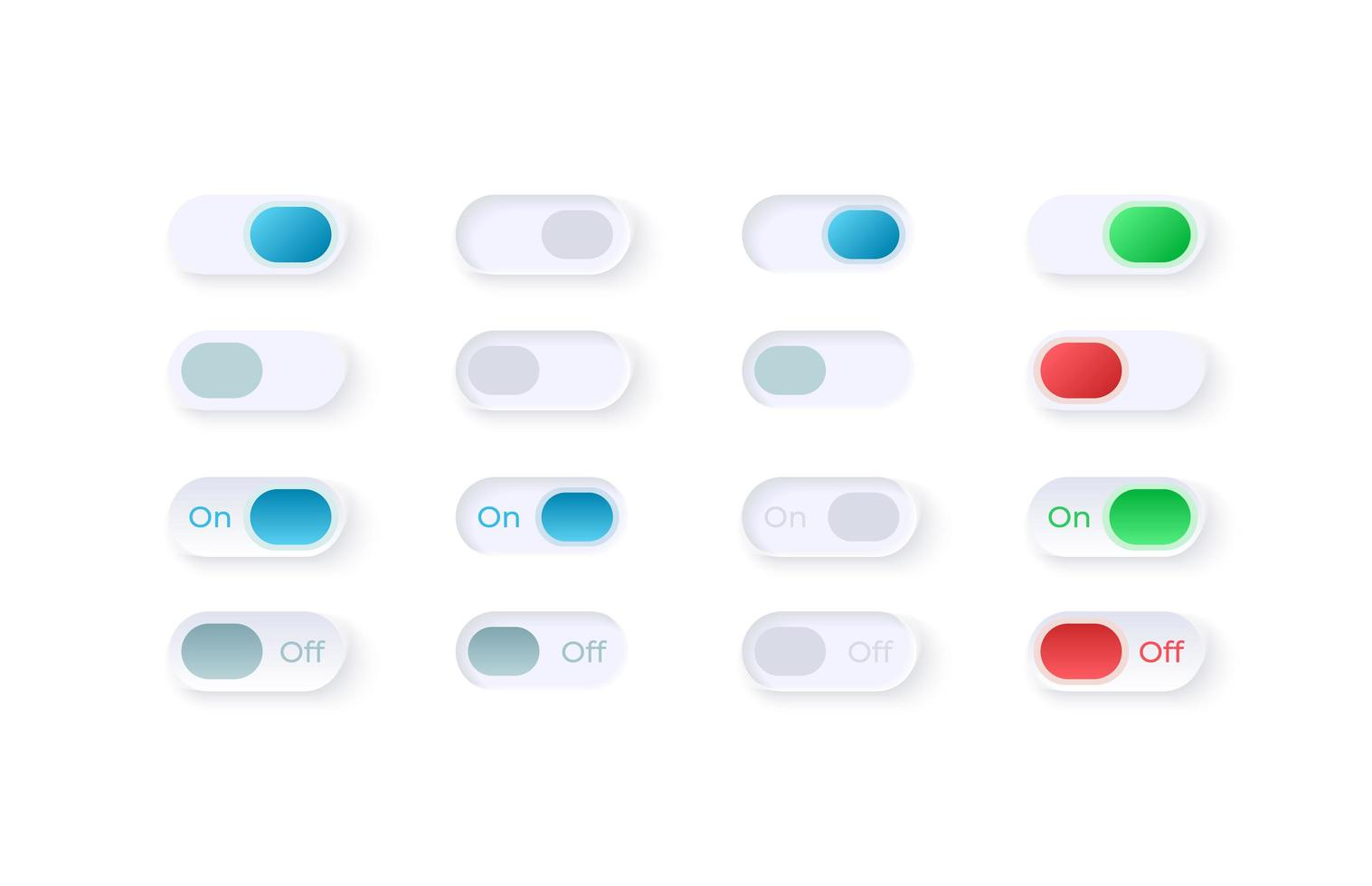 interrupteurs marche / arrêt kit d'éléments d'interface utilisateur vecteur