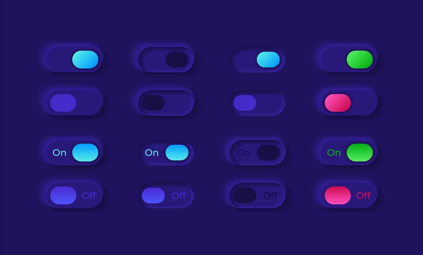 kit d'éléments d'interface utilisateur sous et hors tension vecteur
