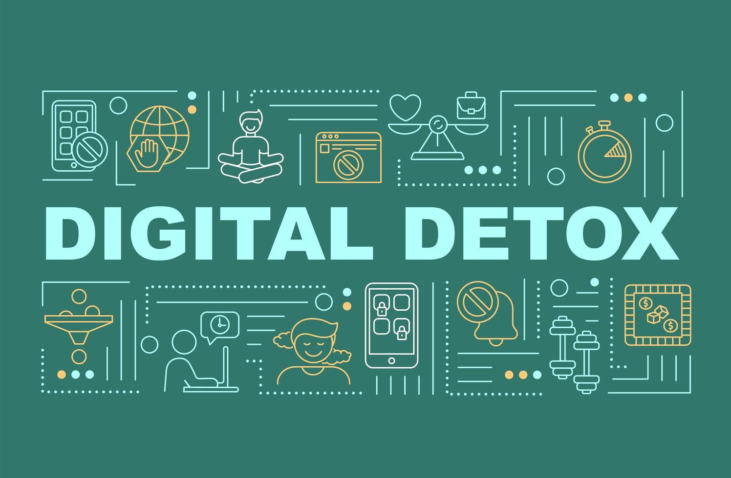 bannière de concepts de mot de désintoxication numérique vecteur