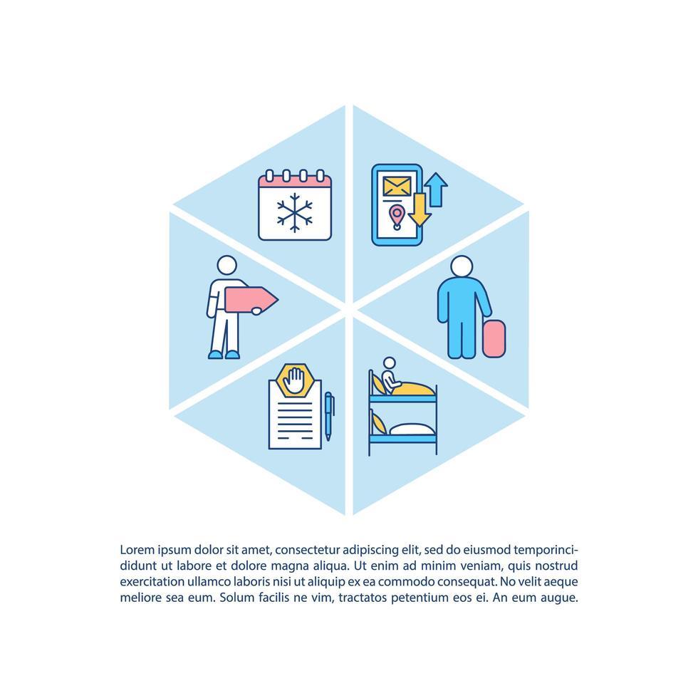 icône de concept agence de voyage avec texte vecteur