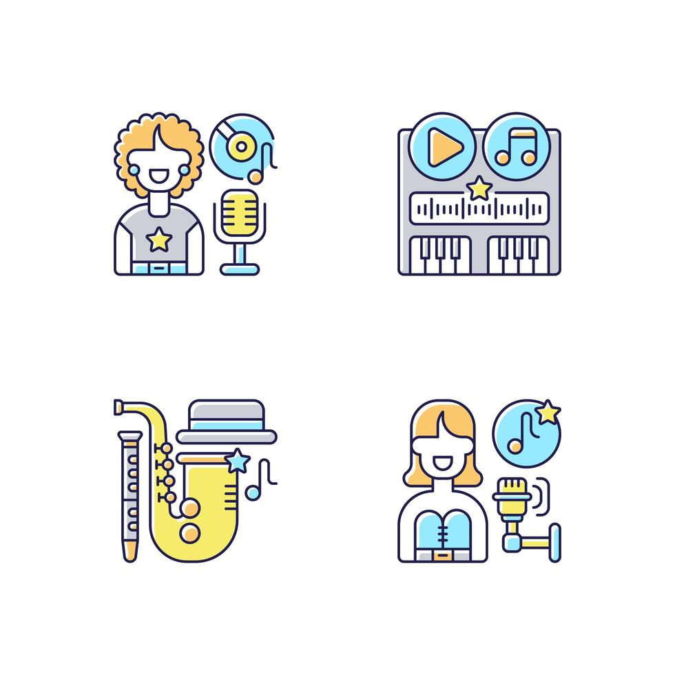 Différents genres de bande-son ensemble d'icônes de couleur rgb vecteur
