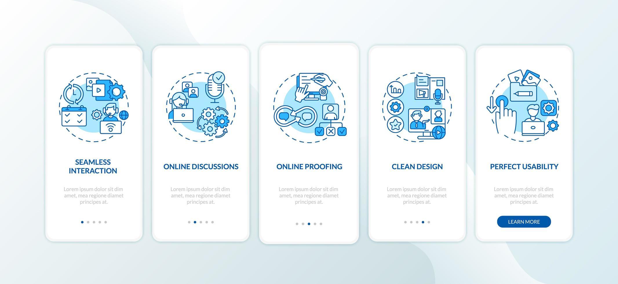 Fonctionnalités de l'application d'emploi à distance Écran de la page de l'application mobile d'intégration avec concepts vecteur