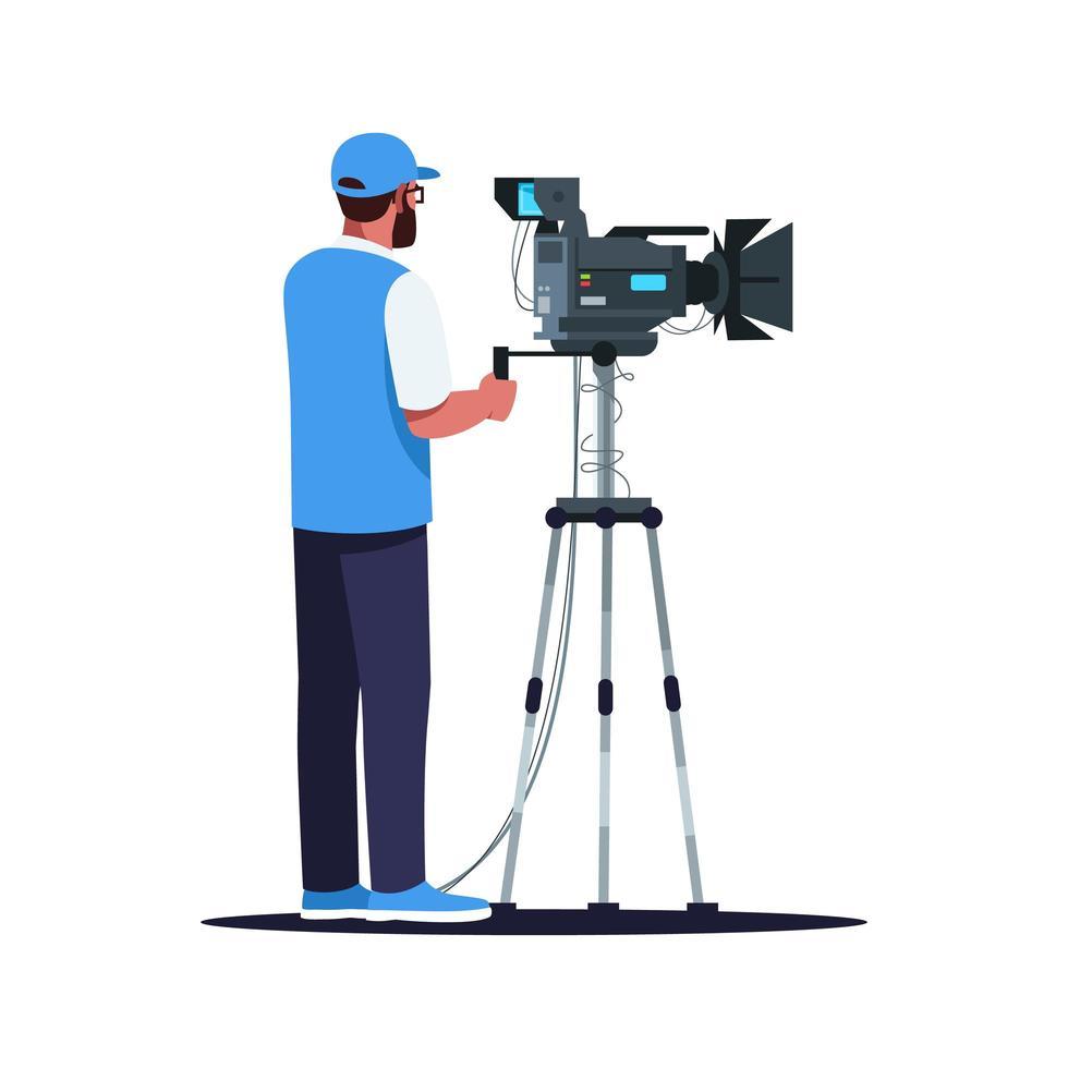 illustration vectorielle de caméraman semi-plat couleur rgb vecteur