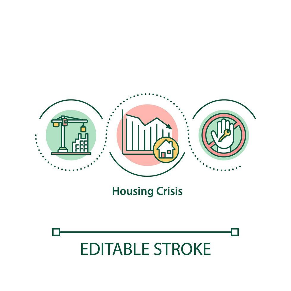 icône de concept de crise de logement vecteur