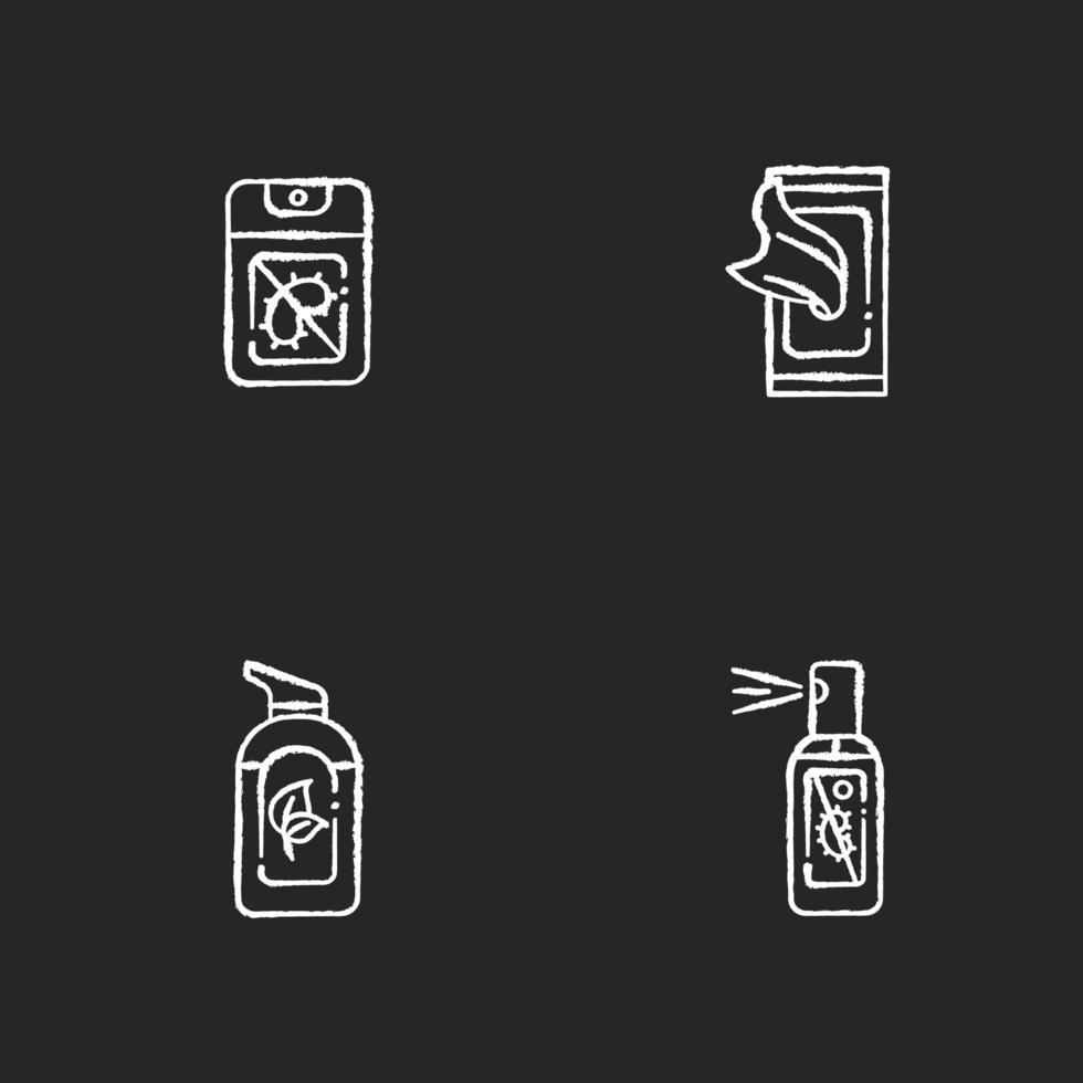 Désinfectants antibactériens pour les mains craie icônes blanches sur fond noir vecteur