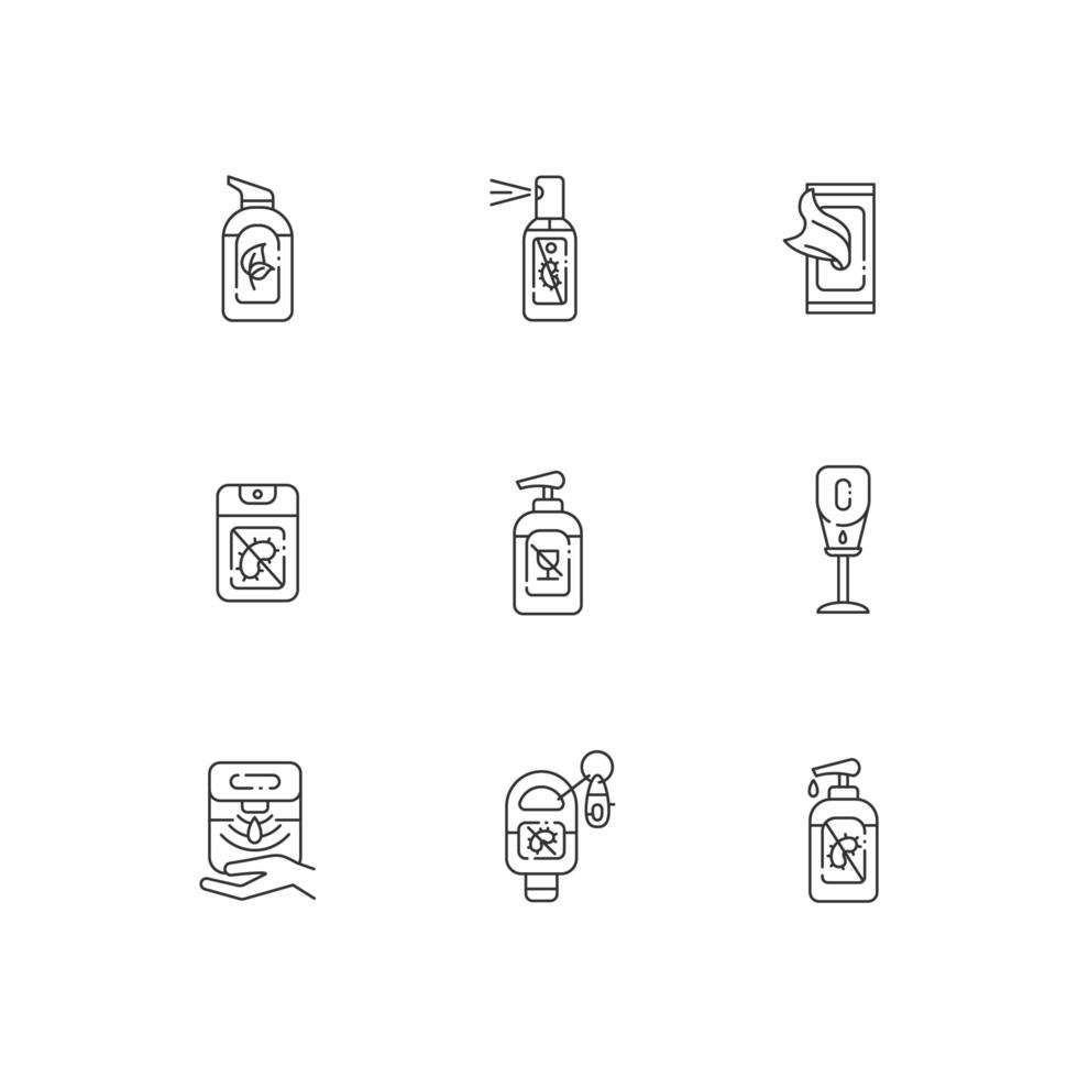 jeu d & # 39; icônes linéaires de désinfectants pour les mains vecteur
