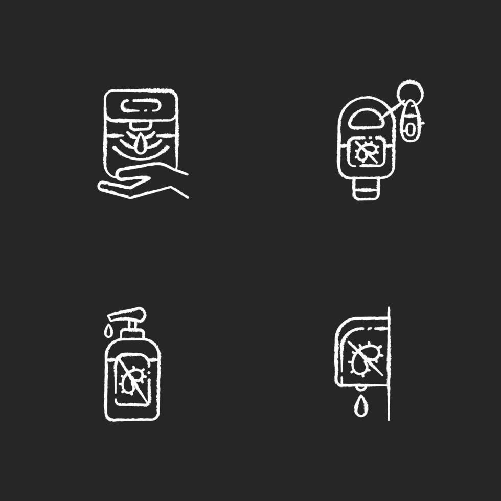 Désinfectants hygiéniques pour les mains craie icônes blanches sur fond noir vecteur