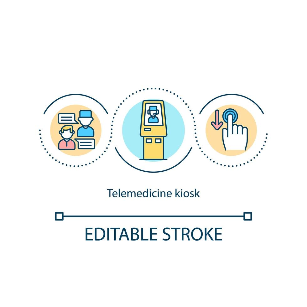icône de concept de kiosque de télémédecine vecteur