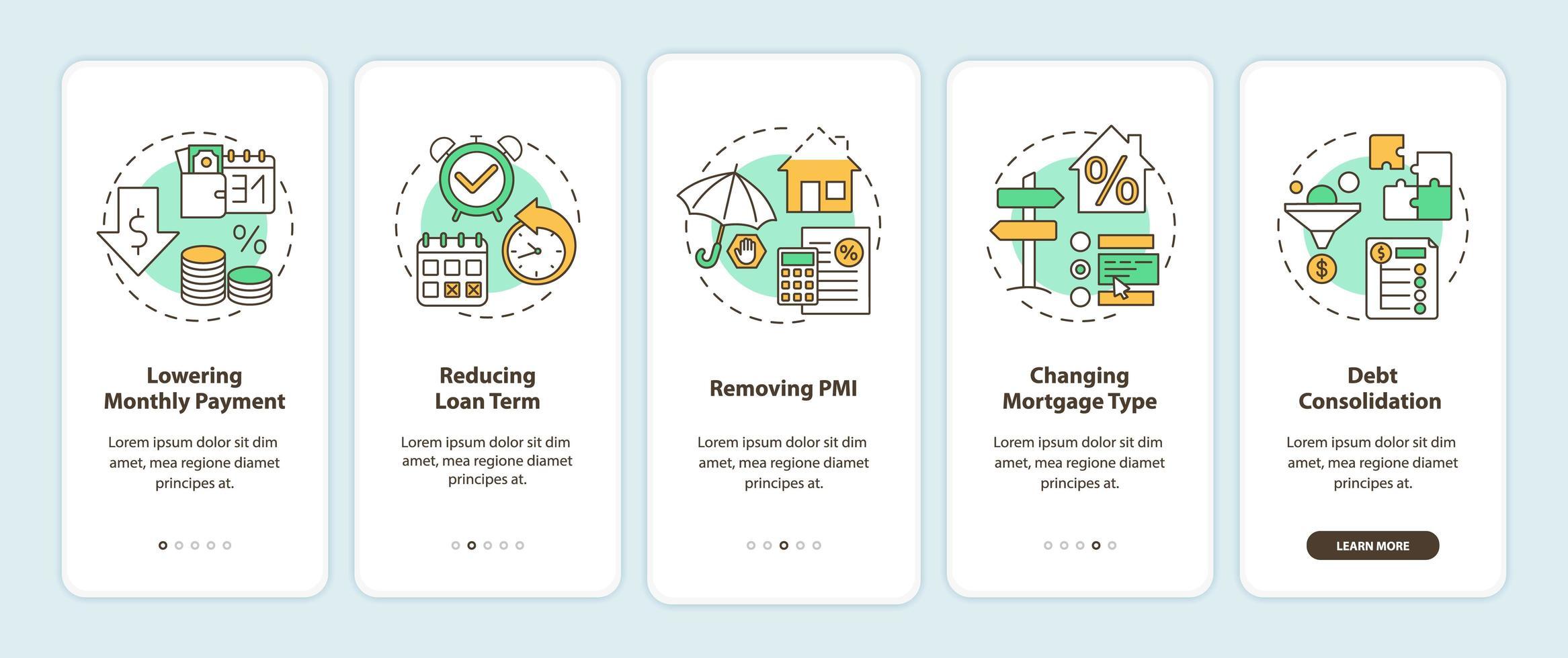 Écran de page de l'application mobile d'intégration des avantages de refinancement hypothécaire avec concepts vecteur