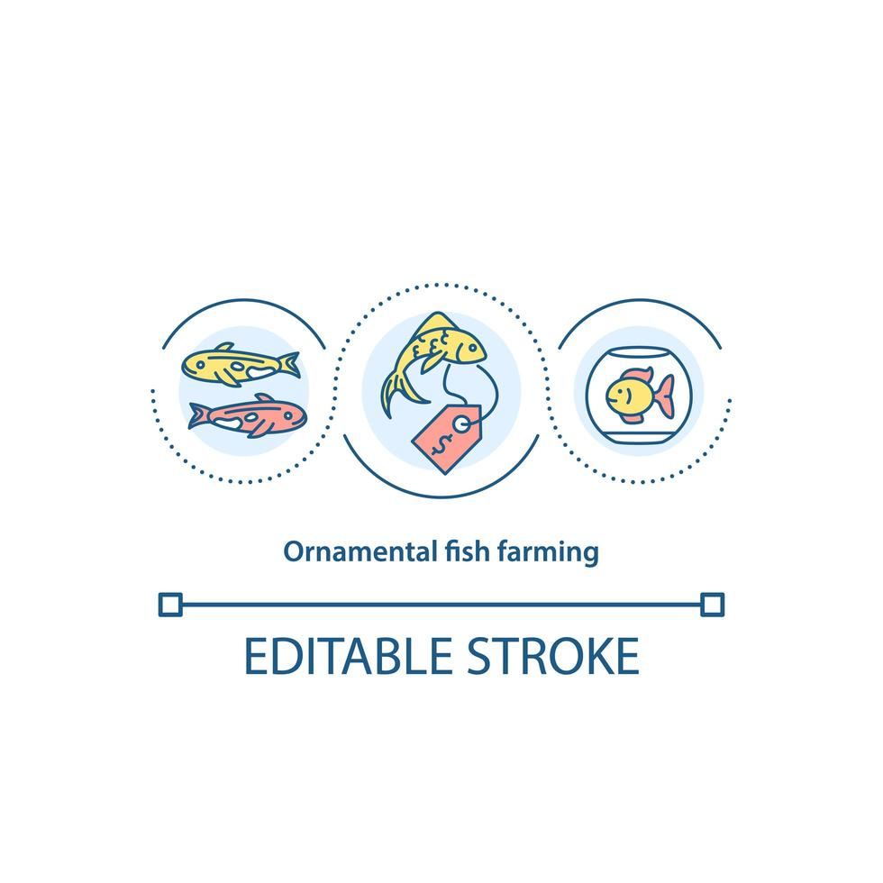 icône de concept de pisciculture ornementale vecteur
