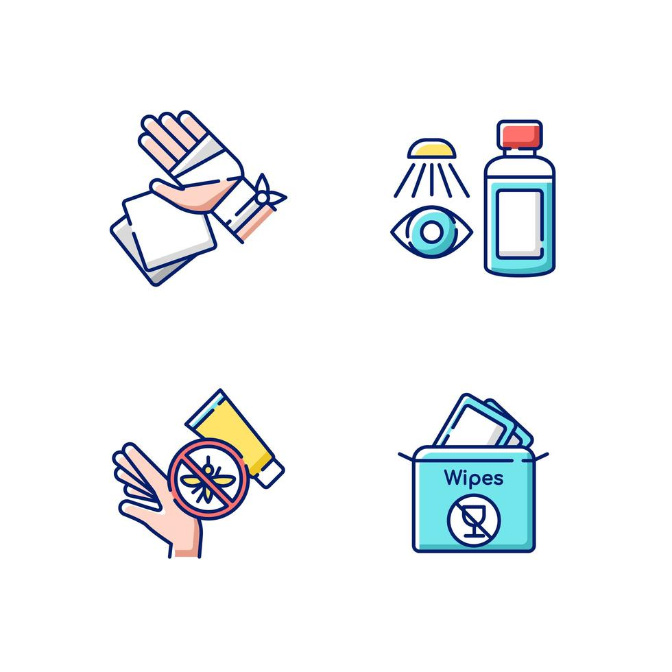 ensemble d'icônes de couleur rgb kit médical d'urgence vecteur