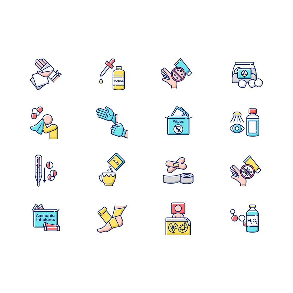 trousse de premiers soins jeu d & # 39; icônes de couleur rgb vecteur
