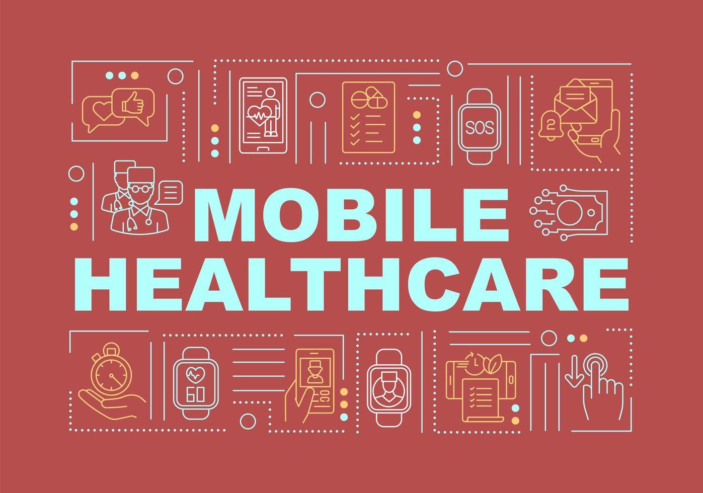 bannière de concepts de mot santé mobile vecteur