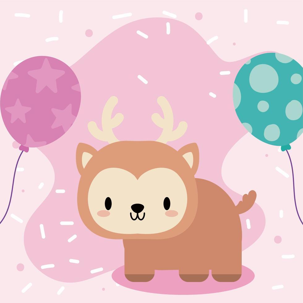 joli bébé cerf kawaii avec des ballons vecteur