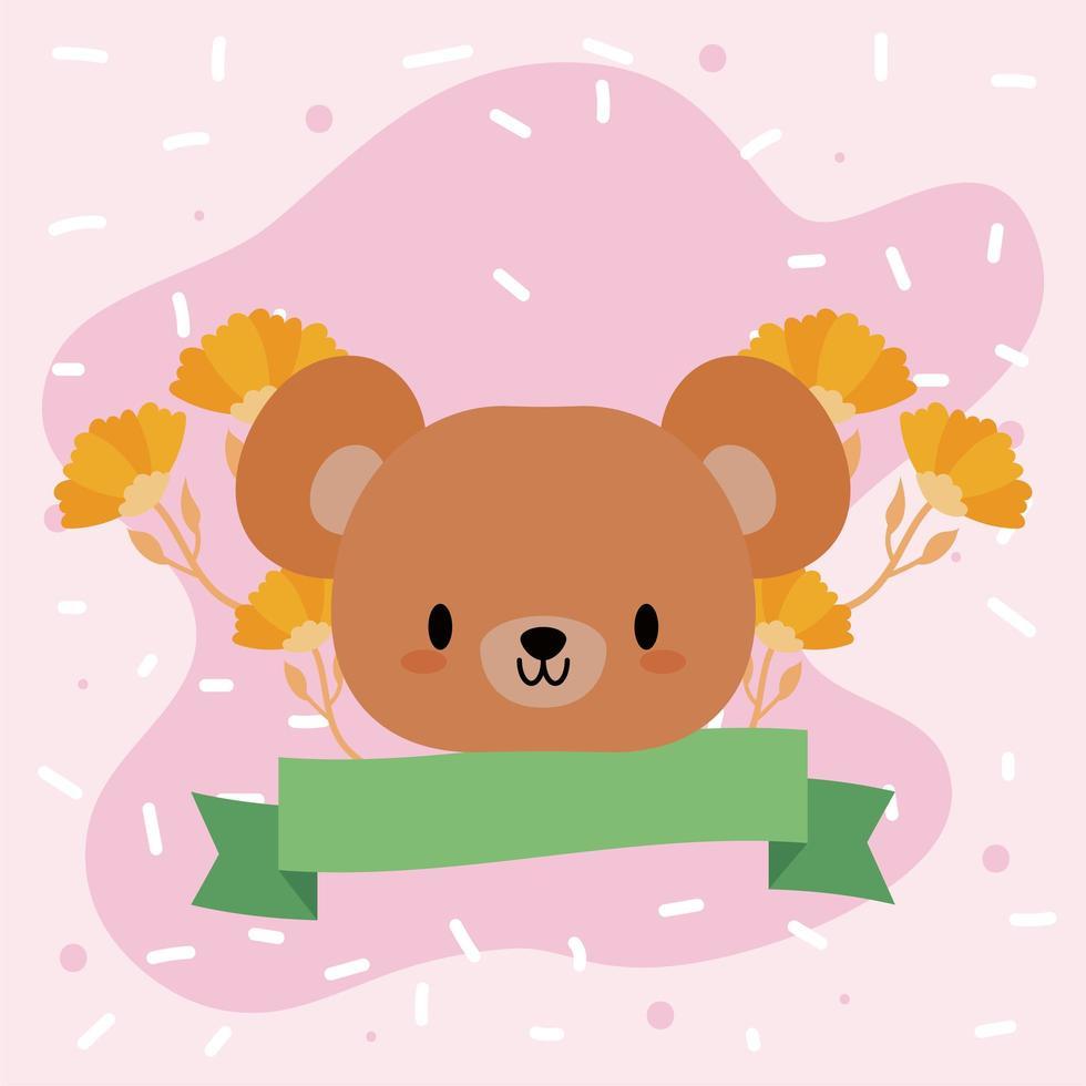 tête d'ours kawaii avec des fleurs vecteur