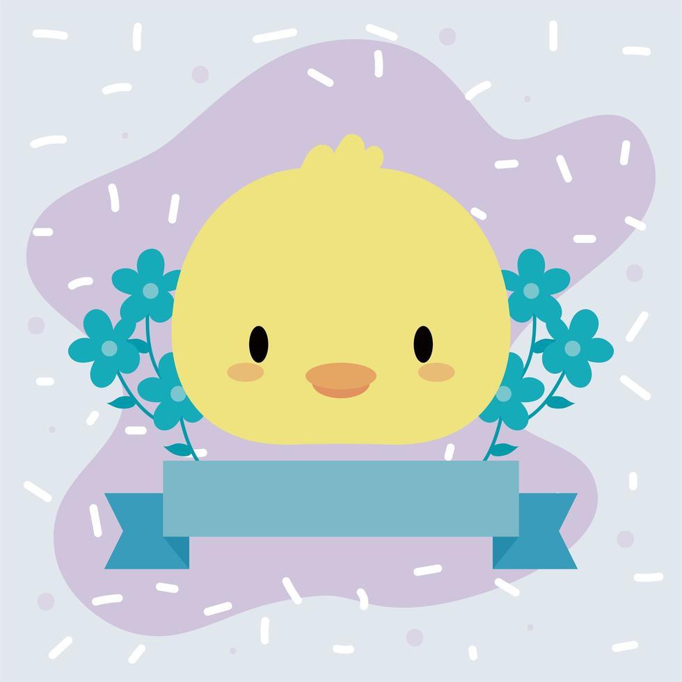 mignon bébé poulet kawaii avec des fleurs vecteur