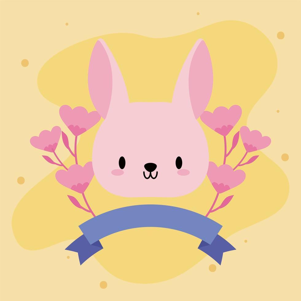 mignon bébé lapin kawaii avec des fleurs vecteur
