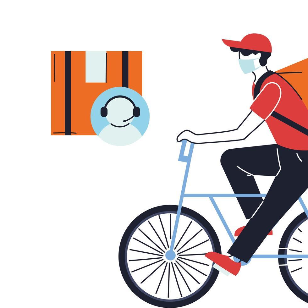 coursier à vélo en masque et agent du service client vecteur