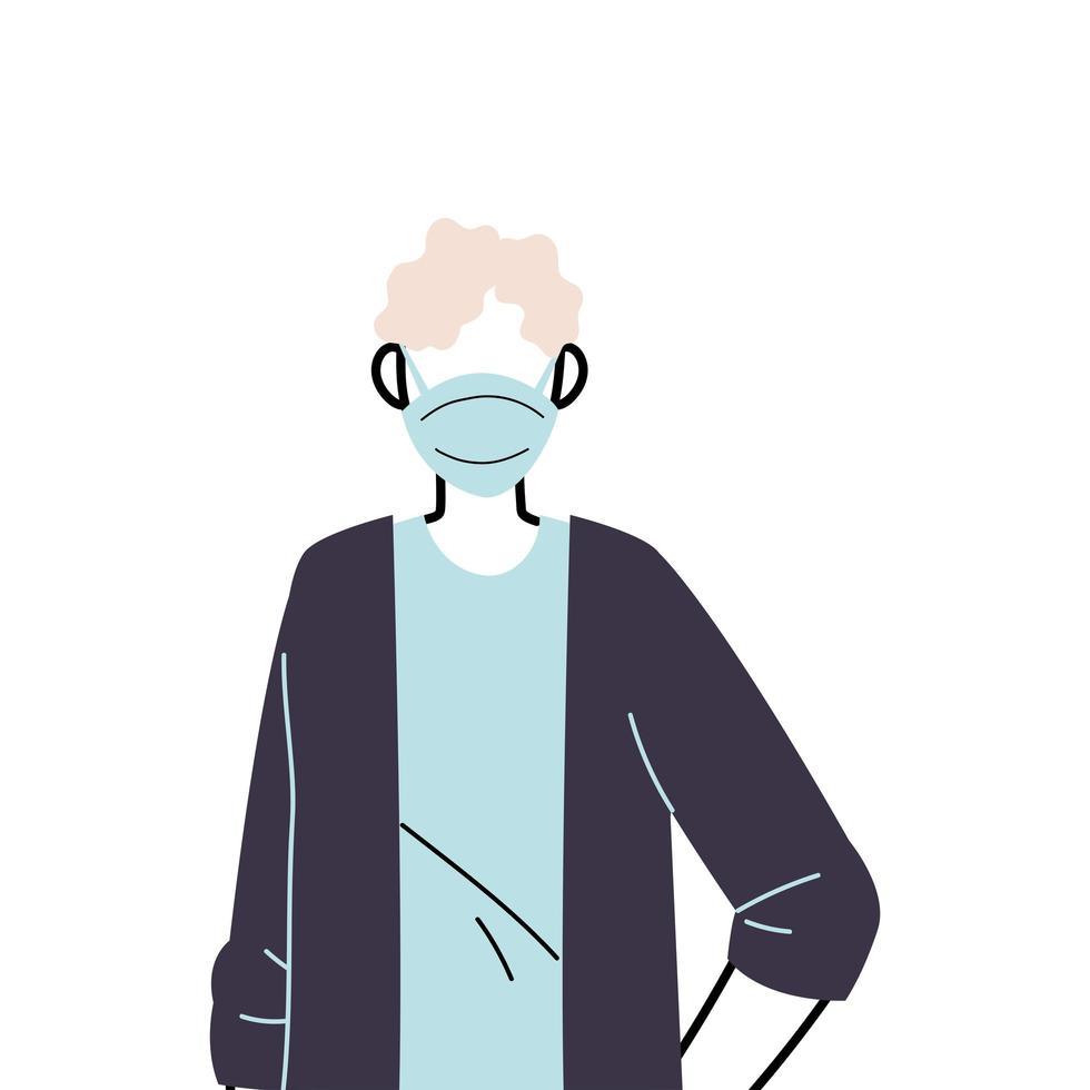 jeune homme portant un masque facial pour prévenir le virus vecteur