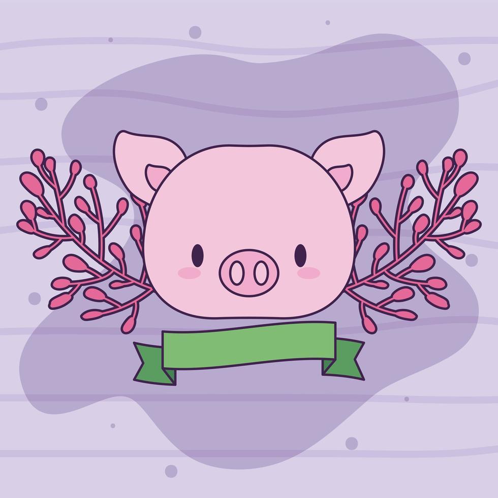 mignon cochon kawaii avec des plantes vecteur