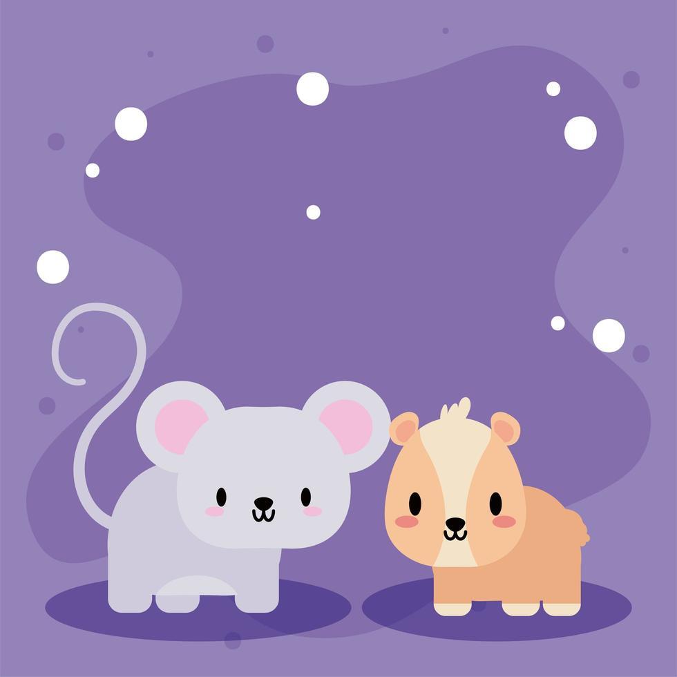 jolie carte avec hamster kawaii et souris vecteur