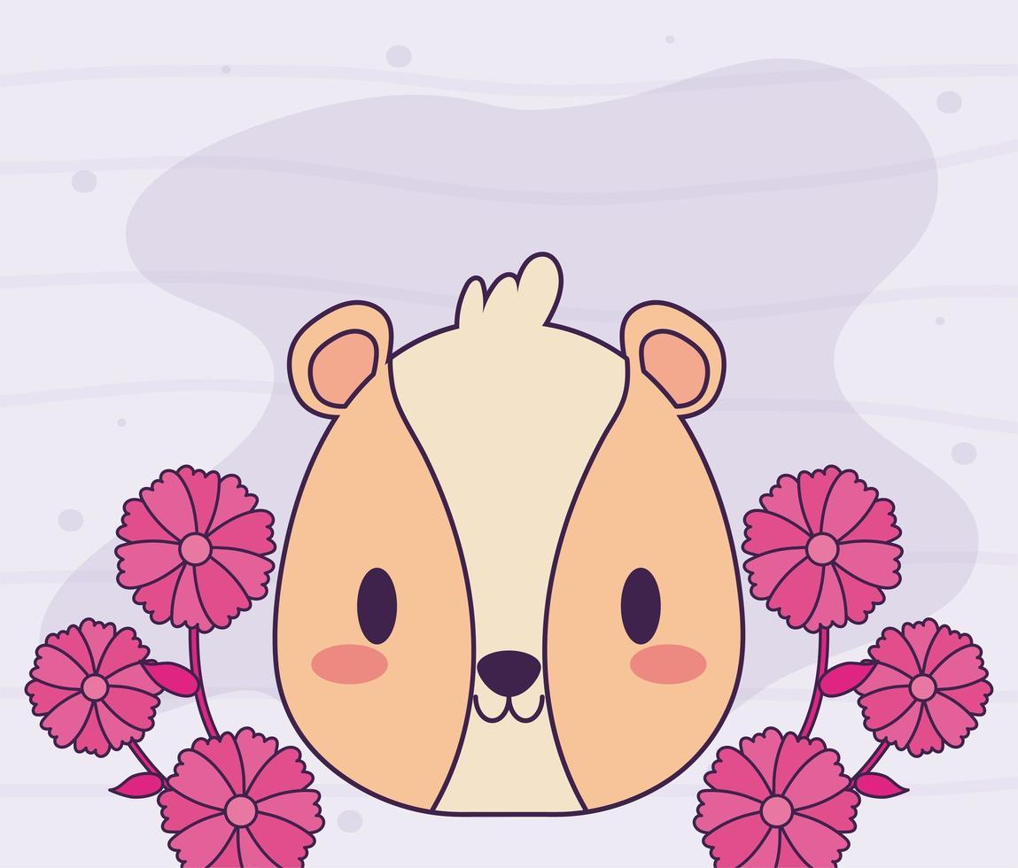 tête de hamster kawaii avec des fleurs vecteur