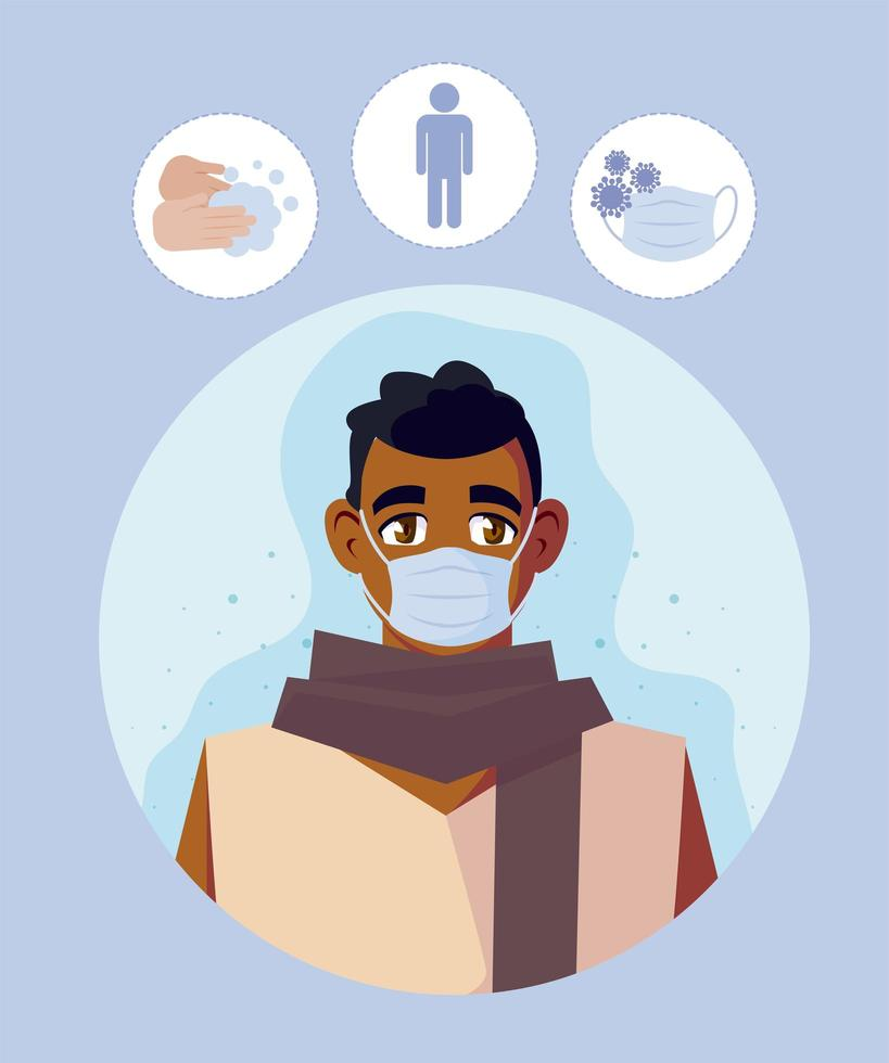 homme avec masque médical et conception de vecteur 19 icônes covid