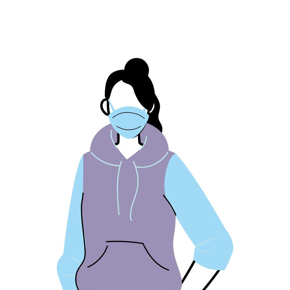jeune femme portant un masque facial pour prévenir le virus vecteur
