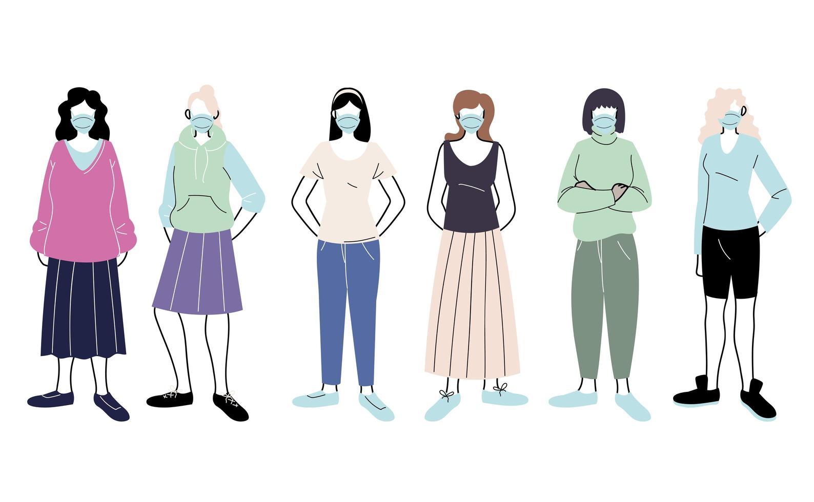 jeunes femmes avec des masques médicaux debout sur fond blanc vecteur