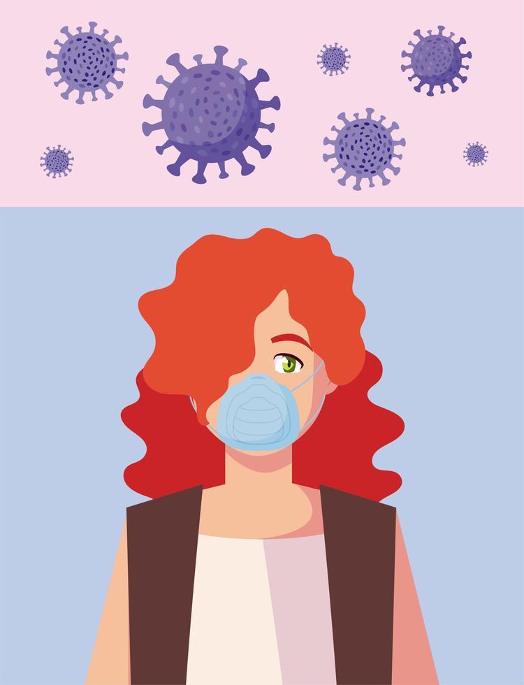 femme avec masque médical et conception de vecteur de virus covid 19