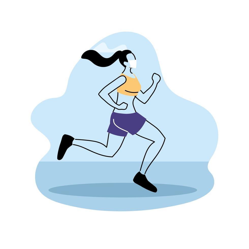 jeune femme jogging dans le parc, entraînement en plein air vecteur
