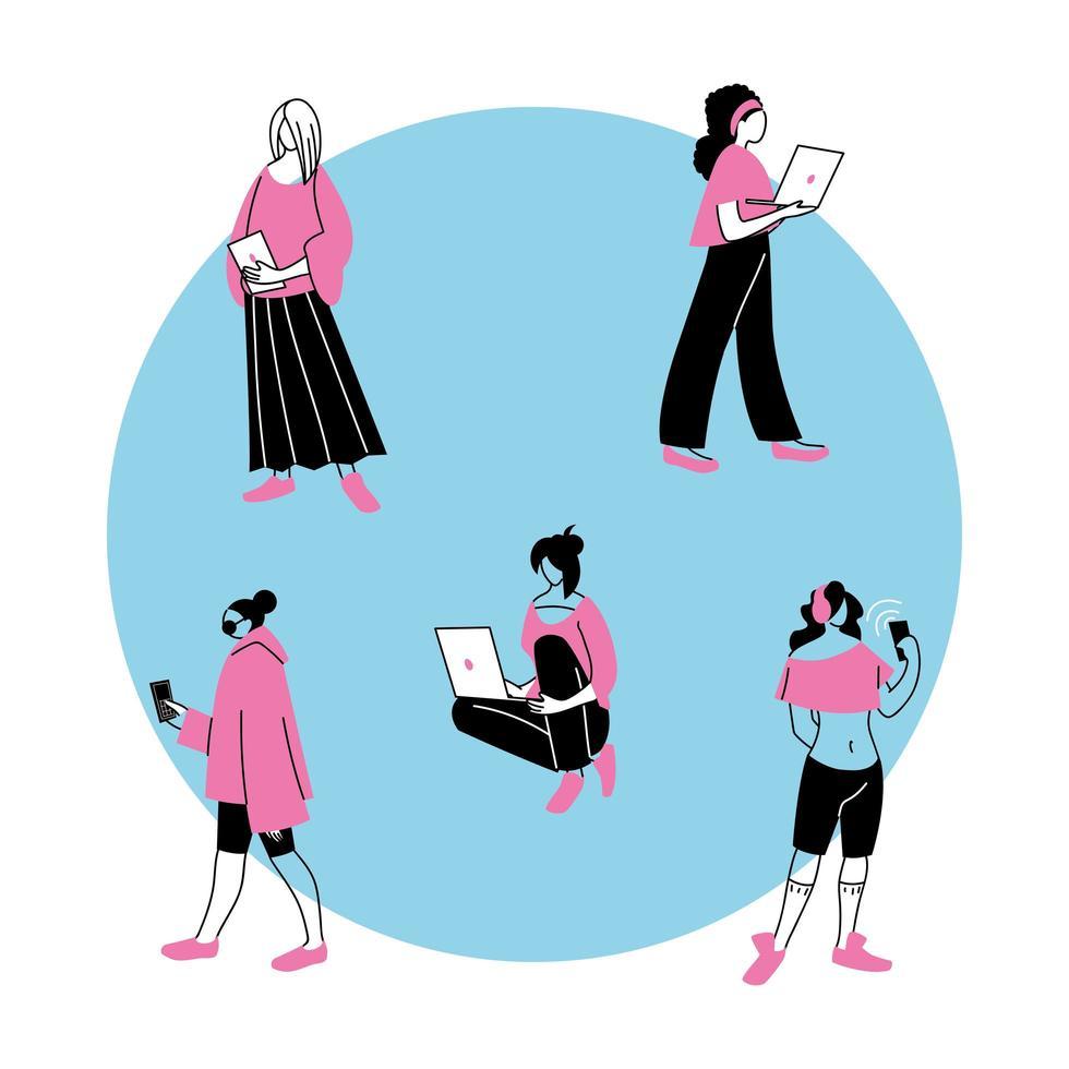 jeunes femmes utilisant des appareils électroniques vecteur