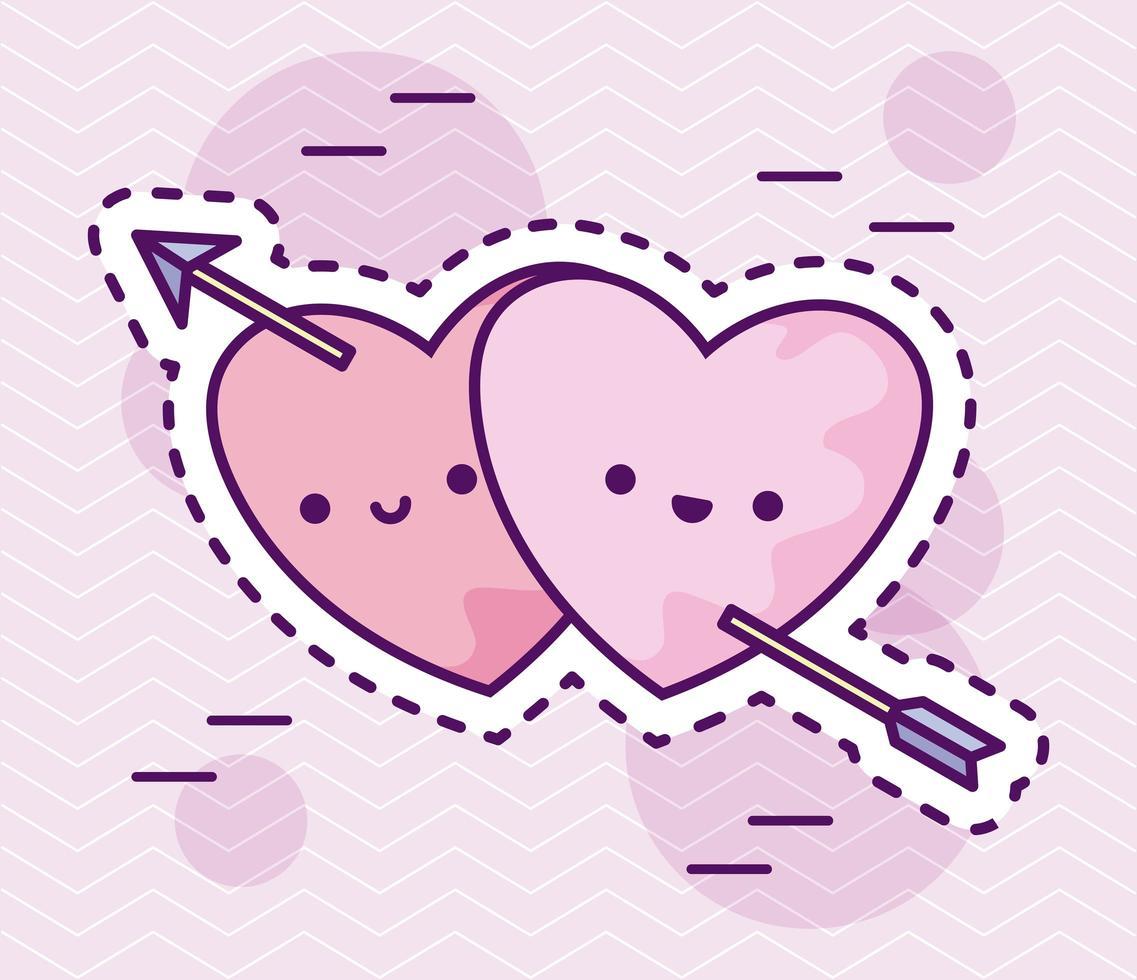 coeurs mignons avec flèche, style patch vecteur
