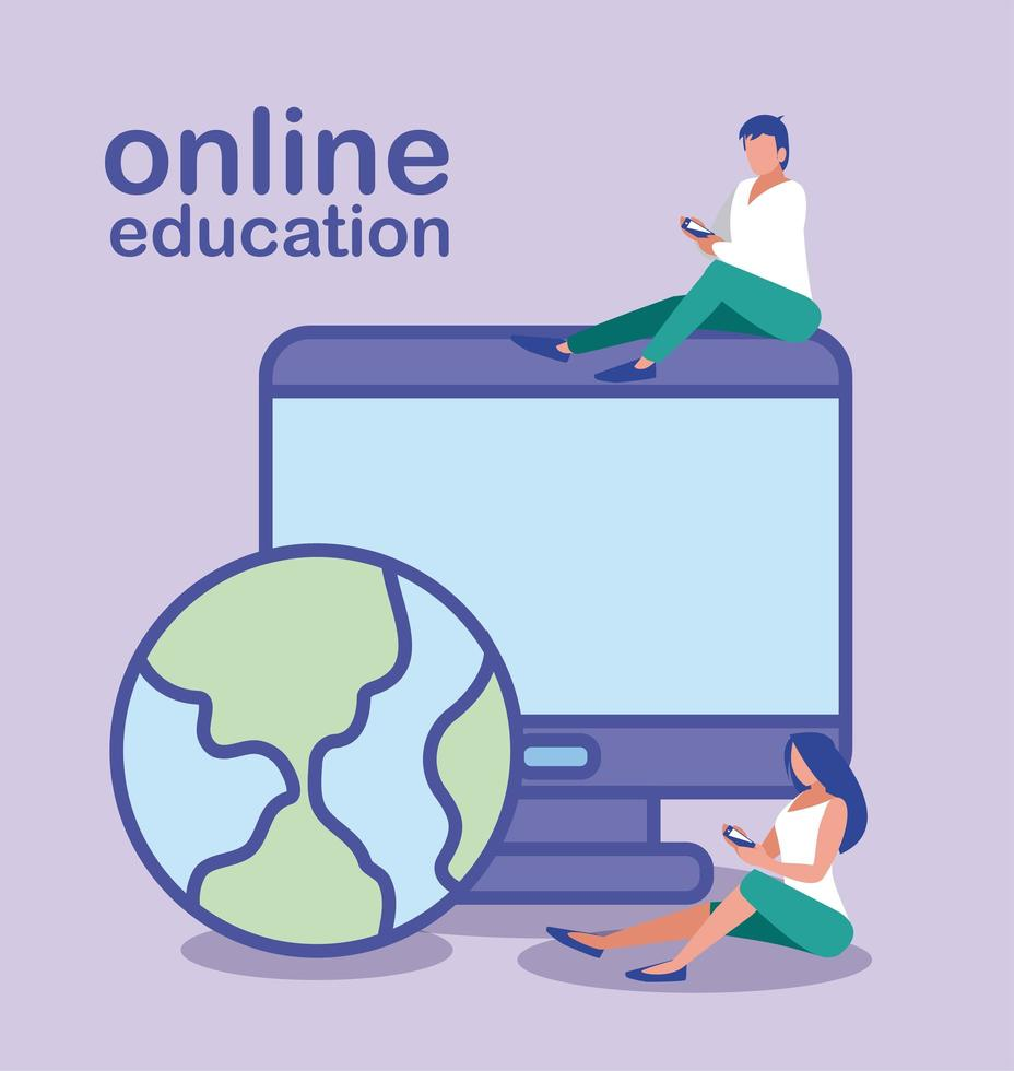 personnes utilisant un ordinateur de bureau, éducation en ligne vecteur