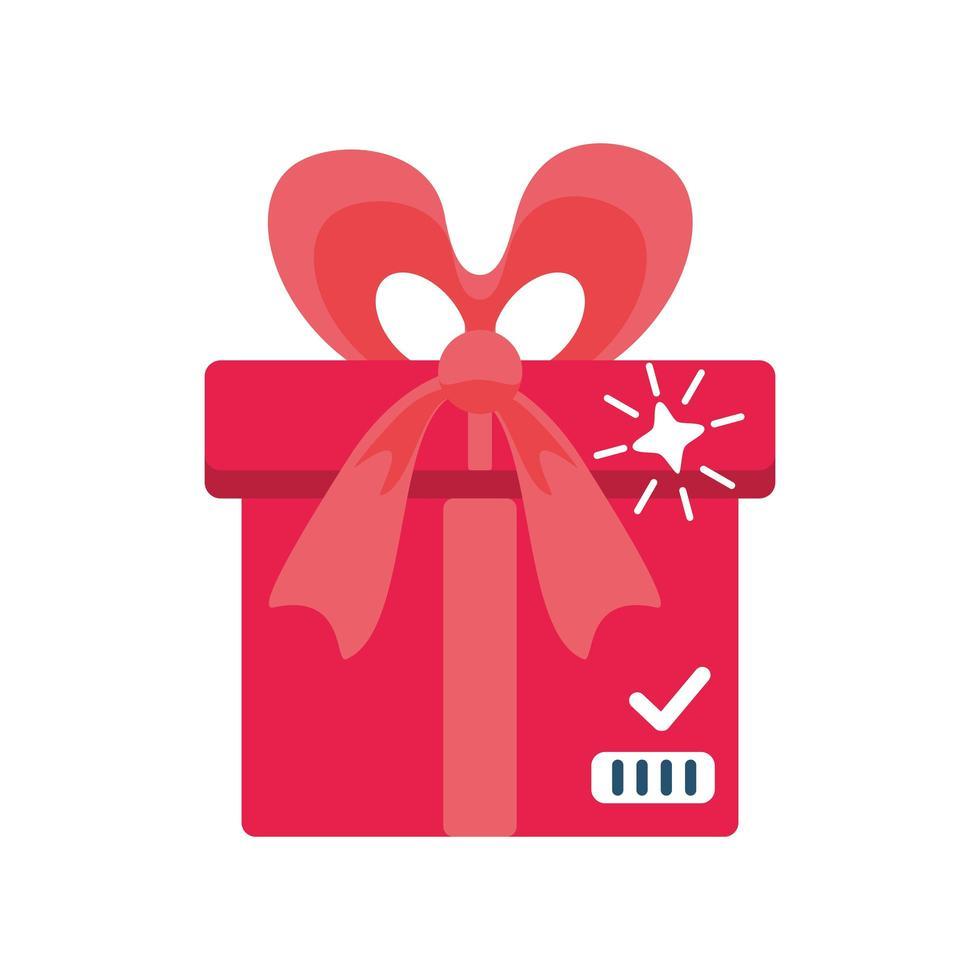 boîte cadeau rouge avec ruban sur fond blanc vecteur