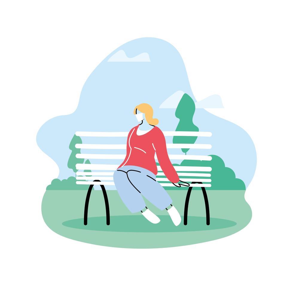 femme assise dans le parc, distanciation sociale vecteur