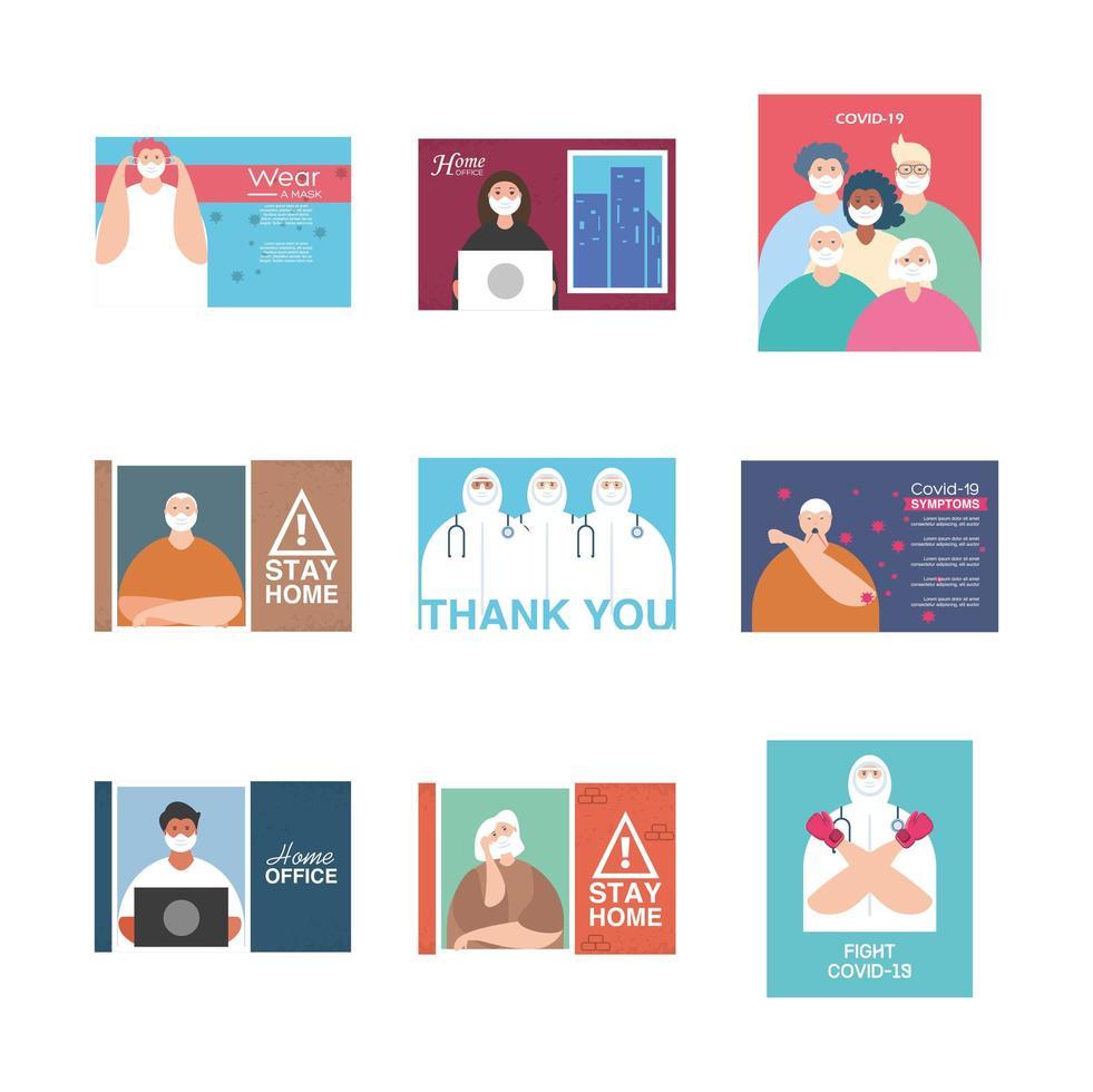 ensemble d'icônes pour la campagne de rester à la maison, prévention des coronavirus vecteur
