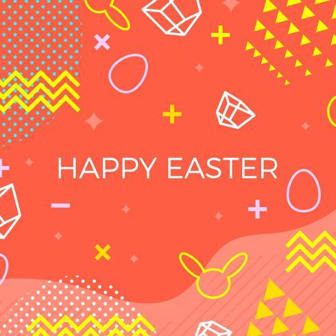 Joyeuses Pâques memphis Style Vector Background