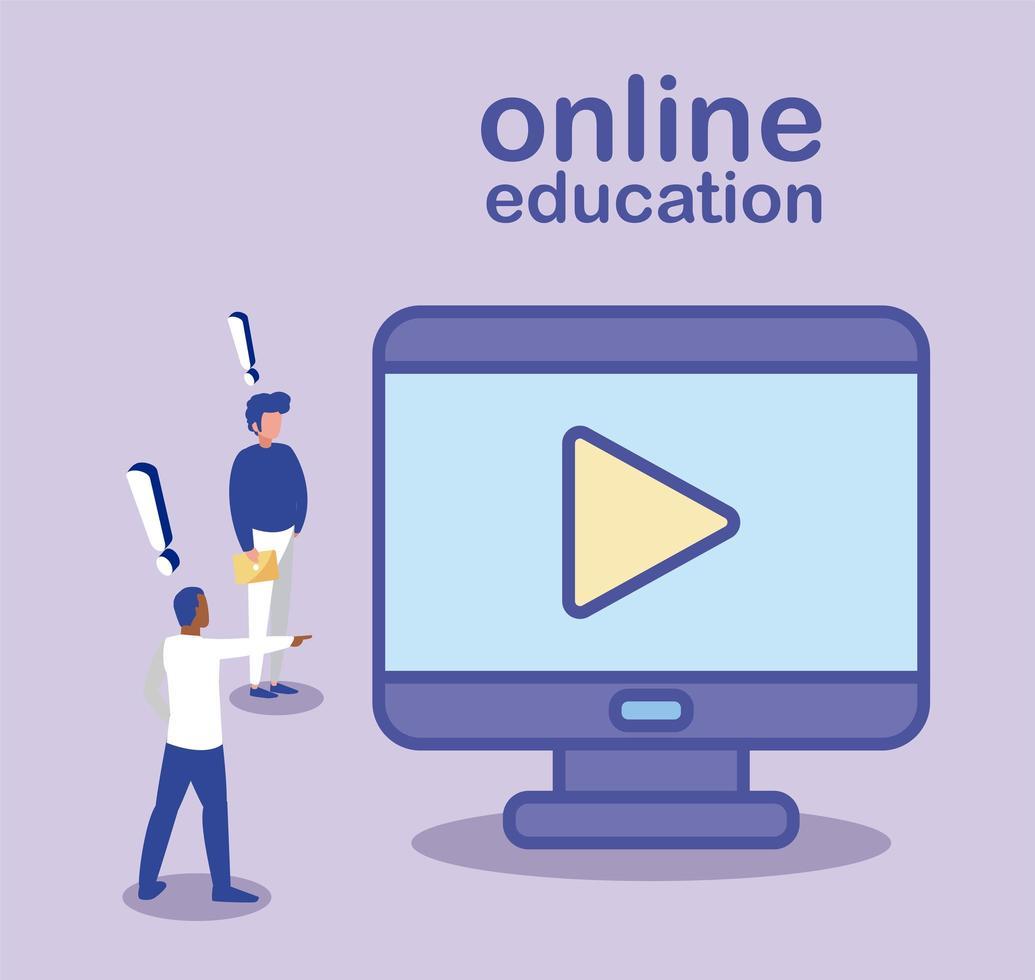 hommes avec ordinateur de bureau, éducation en ligne vecteur