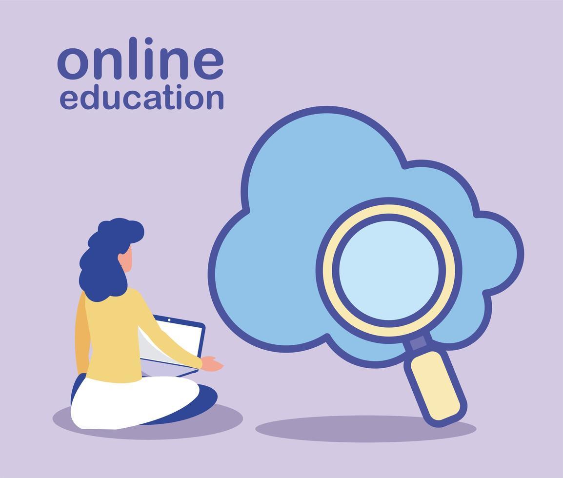 femme recherche des informations sur le cloud, l'éducation en ligne vecteur