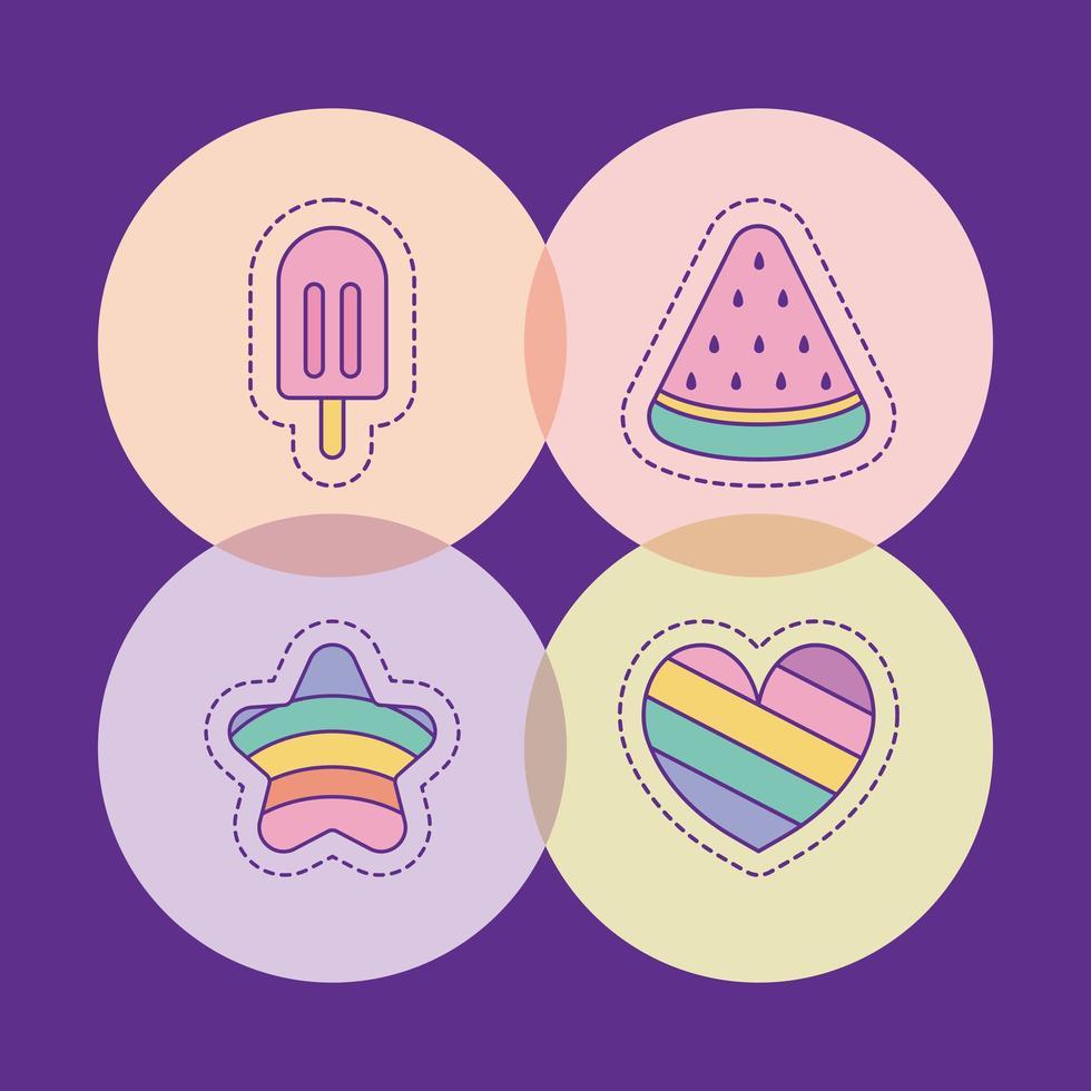 crème glacée pastèque étoile et conception de vecteur de coeur