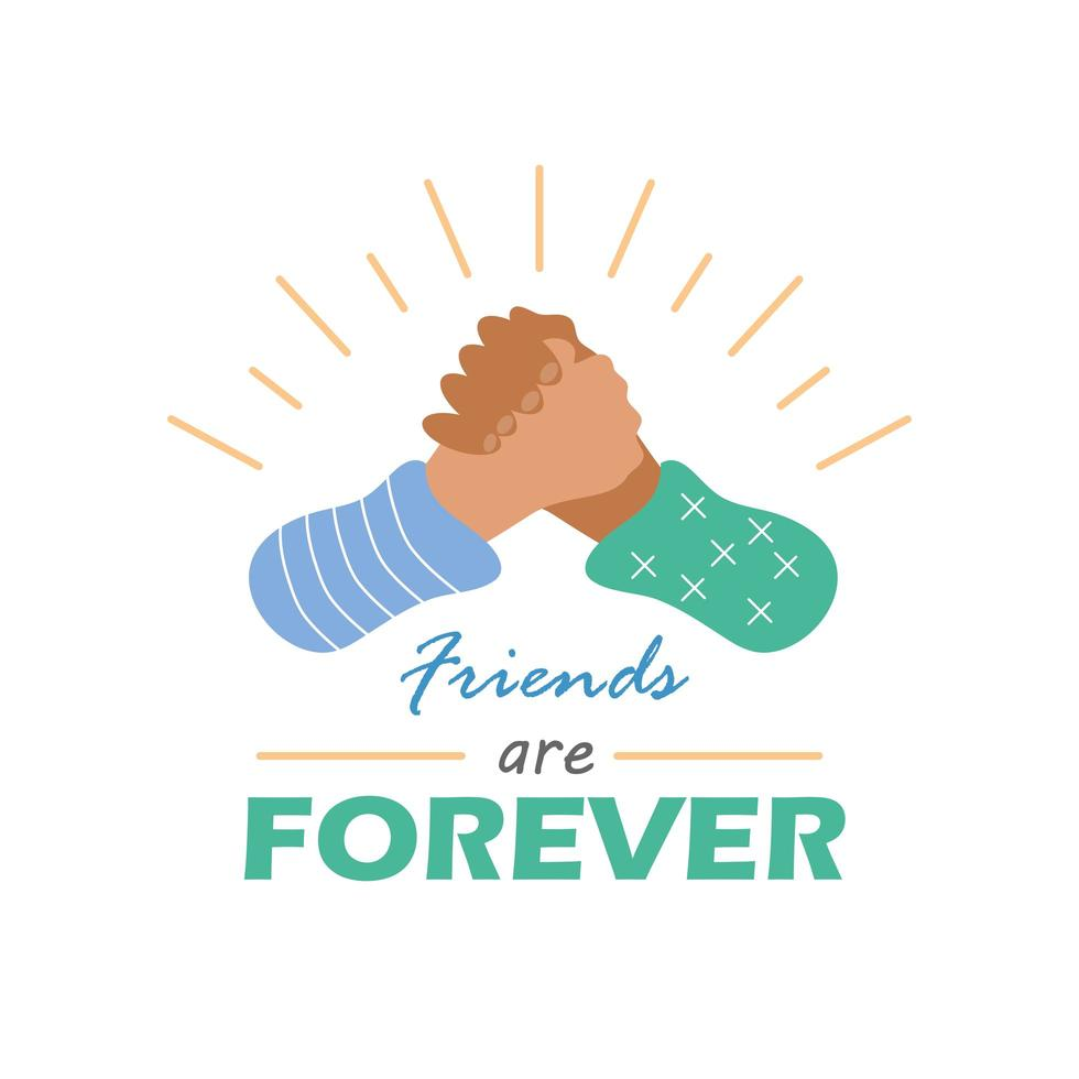 Les amis sont pour toujours avec la conception de vecteur d & # 39; icône de style détaillé de poignée de main