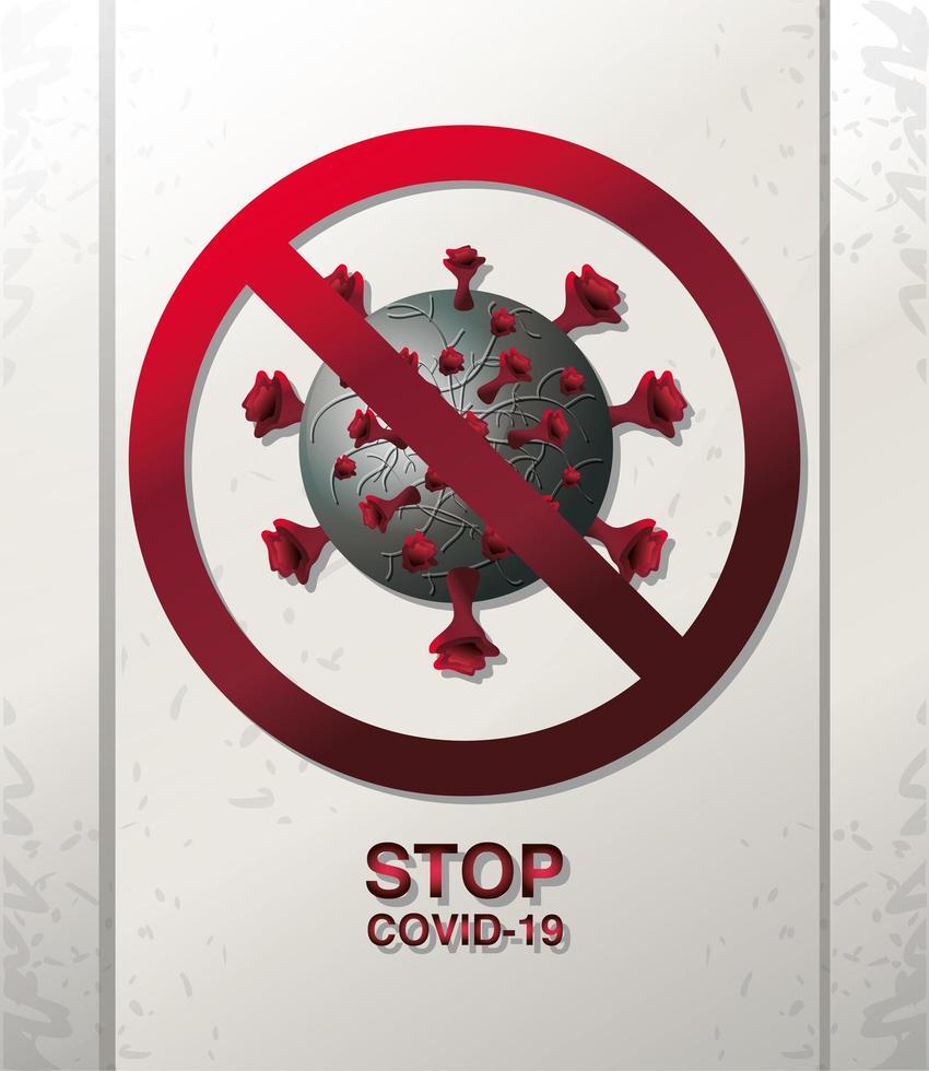 Arrêtez Covid 19, une cellule de coronavirus enfermée dans un symbole d'interdiction vecteur