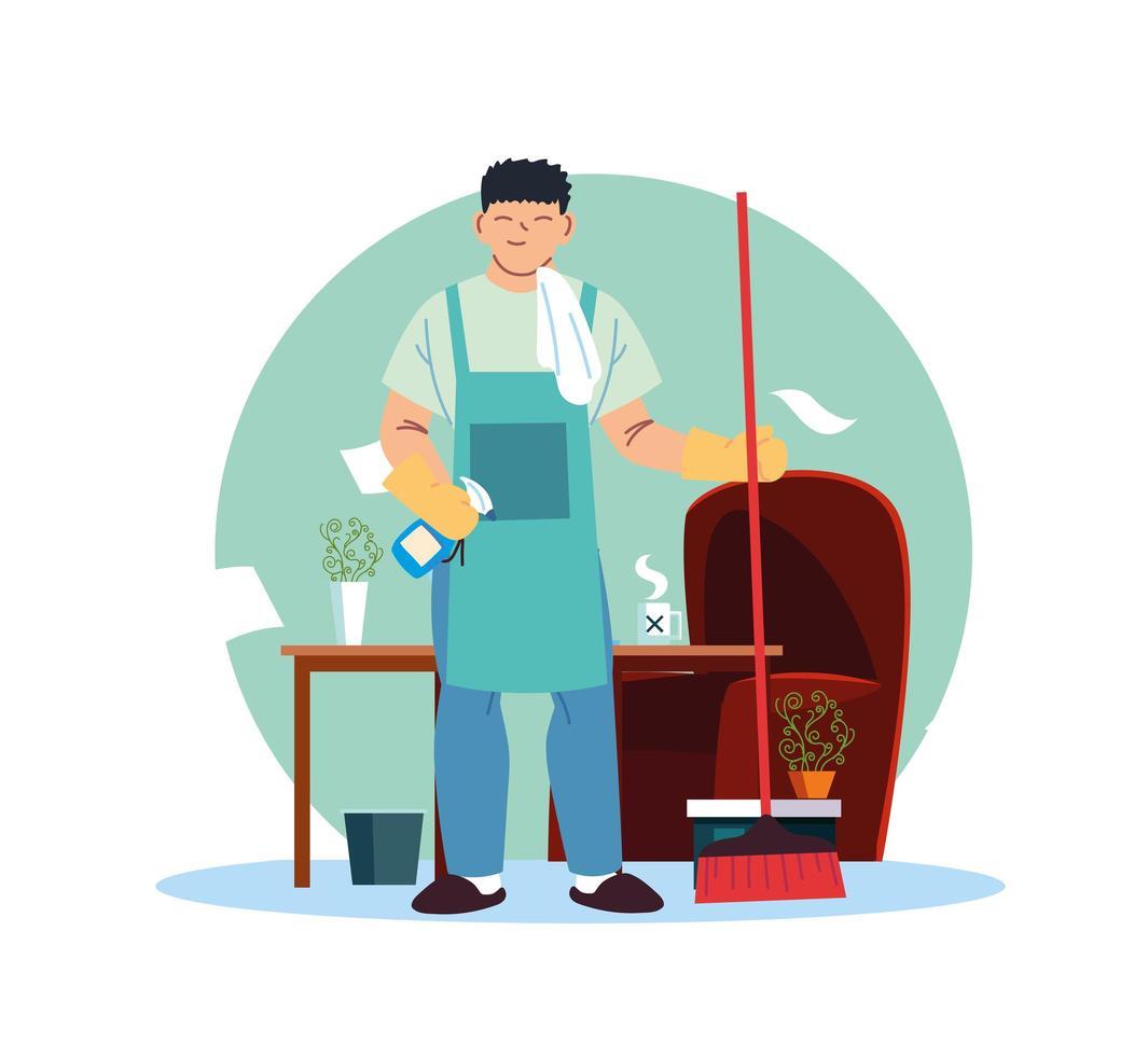 jeune homme travaillant dans le service de nettoyage à la maison vecteur