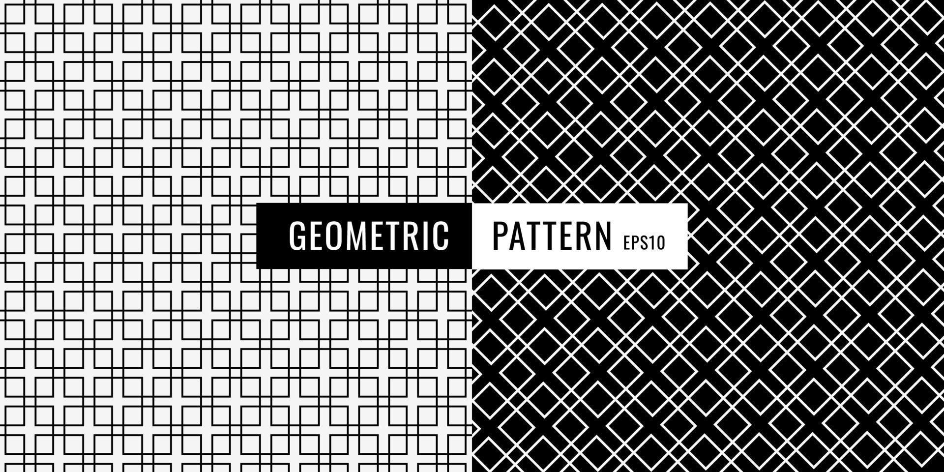 Abstrait motif de bordure carrée géométrique noir et blanc. vecteur